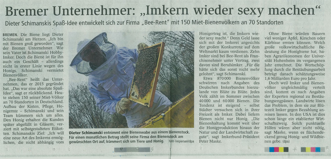 Bee-Rent Zeitungsartikel